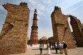 Unesco world heritage site delhi india tallest minaret india ancient islamic monument made red sandstone marble Stock Images