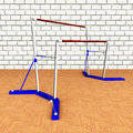 Uneven bars computer generated d illustration with Stock Photography