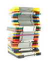 Uneven stack of old computer floppy disks Royalty Free Stock Photo