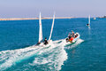Unexpected sailing accident of two towed speeding beginners laser boats heraklion crete greece nov the collision training by a Royalty Free Stock Photography