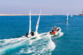 Unexpected sailing accident of two towed speeding beginners laser boats heraklion crete greece nov the collision training by a Royalty Free Stock Image