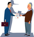 Unfair contract a guileful businessman handling a to a naive customer his shadow showing a long lair s nose Stock Photo