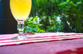 unfiltered beer on colored tablecloths Royalty Free Stock Photo