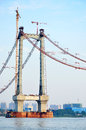 Unfinished bridge over yangtze river Royalty Free Stock Photo