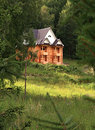 Unfinished building of wooden house. Stock Photos