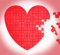 Unfinished Heart Puzzle Shows Marriage Proposal Stock Image