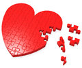 Unfinished Heart Puzzle Shows Romance Stock Images