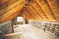 Unfinished house private dwelling attic floor Stock Image