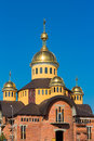 Unfinished orthodox church in blue background, Lviv
