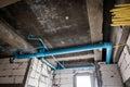 Unfinished sanitation construction photo of the Stock Photo