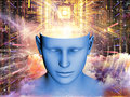 Unfolding of the mind composition human head and symbolic elements suitable as a backdrop for projects on human consciousness Royalty Free Stock Photos