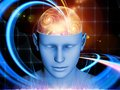 Unfolding of the mind composition human head and symbolic elements suitable as a backdrop for projects on human consciousness Royalty Free Stock Image