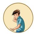 Ung man som skrapar hans huvud Fotografering för Bildbyråer