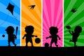 ungar som 1 leker silhouettes Arkivfoto