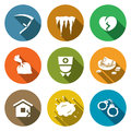 Unhappiness icons set vector illustration flat collection on a color background for design Royalty Free Stock Image