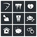 Unhappiness icons vector illustration isolated flat collection on a black background for design Stock Images