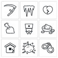 Unhappiness icons vector illustration isolated flat collection on a white background for design Royalty Free Stock Photo