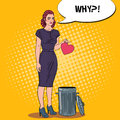 Unhappy Beautiful Woman Throws Her Heart in the Trash. Breakup. Pop Art illustration