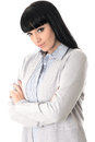 Unhappy bored woman with attitude glaring into the camera long straight black hair and hispanic or european features giving evils Stock Photos