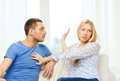 Unhappy couple having argument at home love family and happiness concept Royalty Free Stock Photo