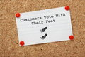 Unhappy customers concept vote with their feet typed on a paper note pinned to a cork notice board business people know will move Royalty Free Stock Photography