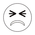 Unhappy face emoticon funny thin line