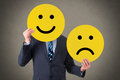 Unhappy and happy smileys working conceptual concept Royalty Free Stock Image