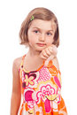 Unhappy little girl thumb down Royalty Free Stock Photos