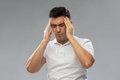 Unhappy man suffering from head ache Royalty Free Stock Photo