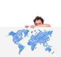 Unhappy men and world map man holding big poster with Royalty Free Stock Images