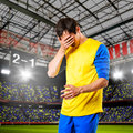 Unhappy player soccer or football are celebrating goal on stadium Royalty Free Stock Photography