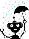 Unhappy Silhouette Robot rain holds Umbrella Royalty Free Stock Photos