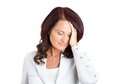 Unhappy stressed middle aged business woman closeup portrait hands on heads bothered by mistake having bad headache isolated on Royalty Free Stock Photo