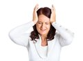 Unhappy stressed middle aged business woman closeup portrait hands on heads bothered by mistake having bad headache isolated on Royalty Free Stock Photography