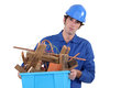 Unhappy tradesman Stock Image