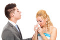 Unhappy wedding couple crying Royalty Free Stock Photo