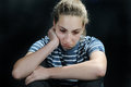Unhappy weeping teenager girl feels lonely Royalty Free Stock Image