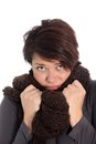 Unhappy woman suffering from cold weather Royalty Free Stock Photos