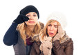 Unhappy women in winter clothes Stock Images