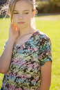 Unhappy young girl with expression of unhappiness or discontent Stock Photos