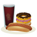 Unhealthy combination of fast food a hot dog with sauce and some donuts with a cold drink Stock Images