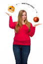 Unhealthy and healthy food Royalty Free Stock Photo
