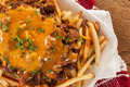 Unhealthy Messy Chili Cheese Fries Royalty Free Stock Photo