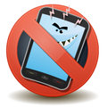 Unhealthy mobile phone with harmful waves illustration of a cartoon character inside a forbidden sign icon Royalty Free Stock Photo