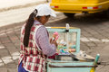 Unhygienic food handling ambato ecuador january ice cream seller while modern sanitation laws exists local authorities does not Stock Photo