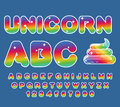 Unicorn ABC. Rainbow font. Multicolored letters.