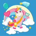Unicorn background. Fairy tale cute little horse standing on fantasy rainbow magical birthday vector picture for girls