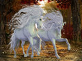 Unicorn brothers beautiful magical stags prance on a forest road in the autumn season Stock Image