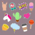 Unicorn, cactus, kiss embroidery word icons. Cute fashion girl patches vector collection
