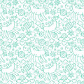 Unicorn. Candy and cupcakes. Seamless pattern background.